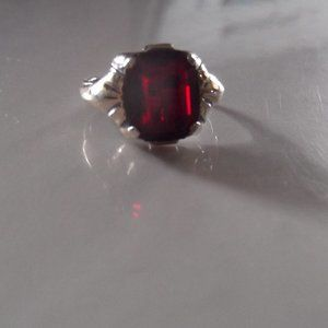 Antique 10k Natural Ruby Ring with Sterling Silver